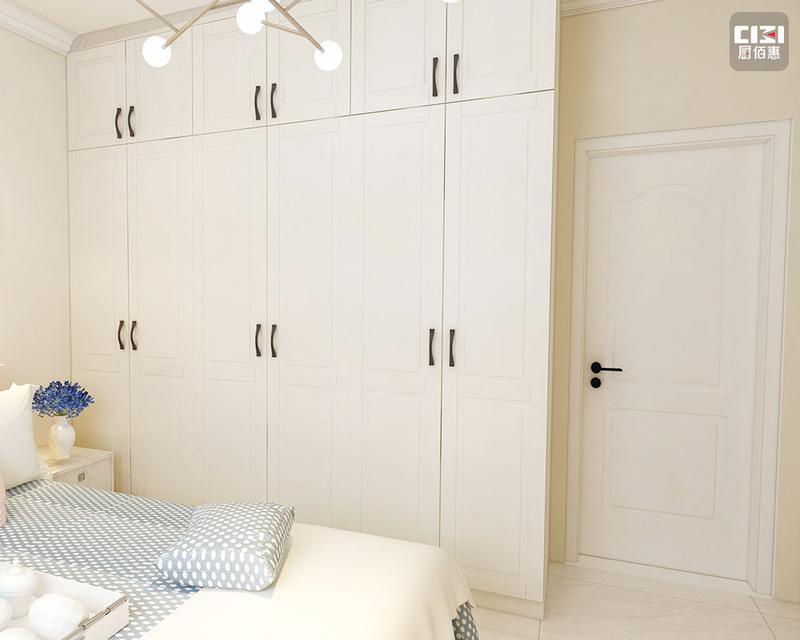 米白色不銹鋼衣柜中小戶型-效果圖