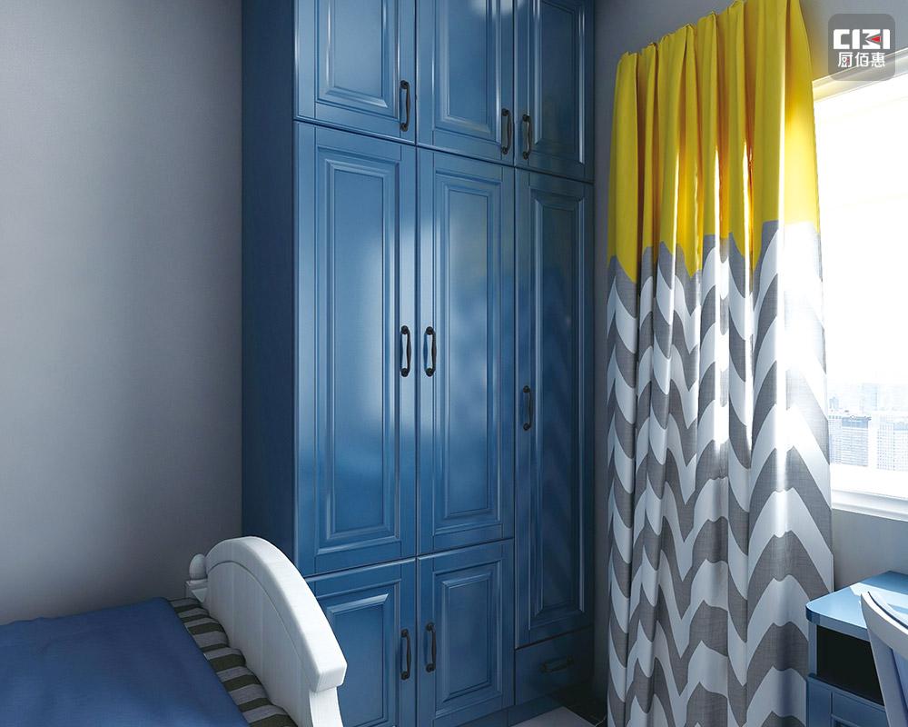 海藍不銹鋼衣柜中小戶型-效果圖